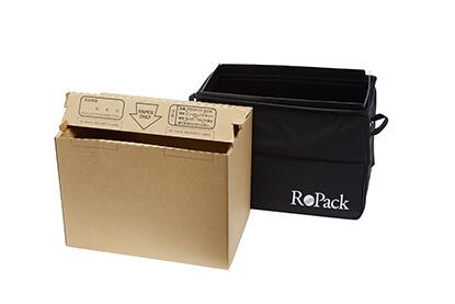専用ダンボール箱へ機密文書や使用済み古紙を投函するだけ